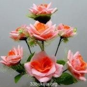 Роза с подставкой фатин 7 голов маленький букет