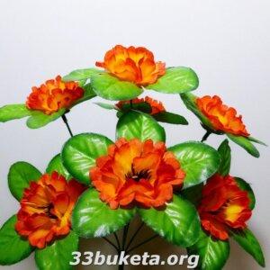 Мак с листиком подставкой 7 цветков маленький букет