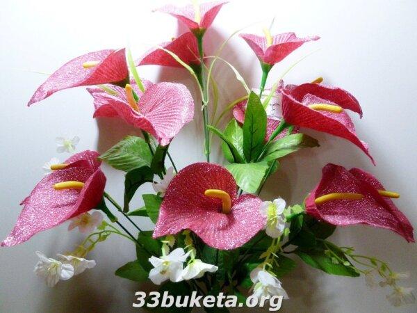 Калла конструктор с серебром 13цветков средний букет