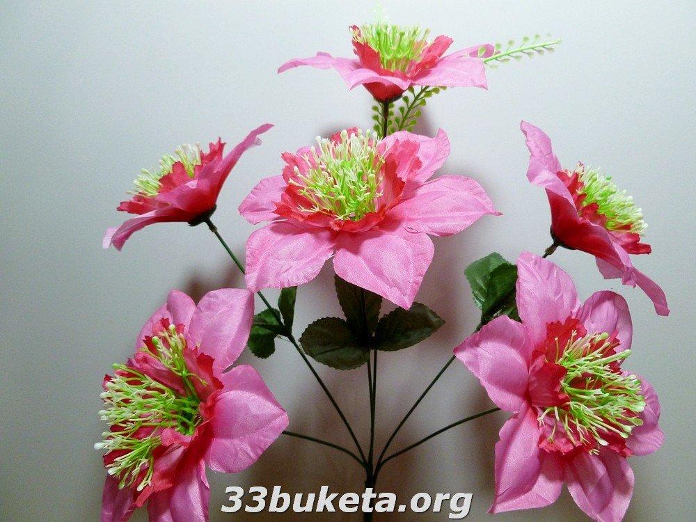 Мальва с травкой 6 цветков средний букет