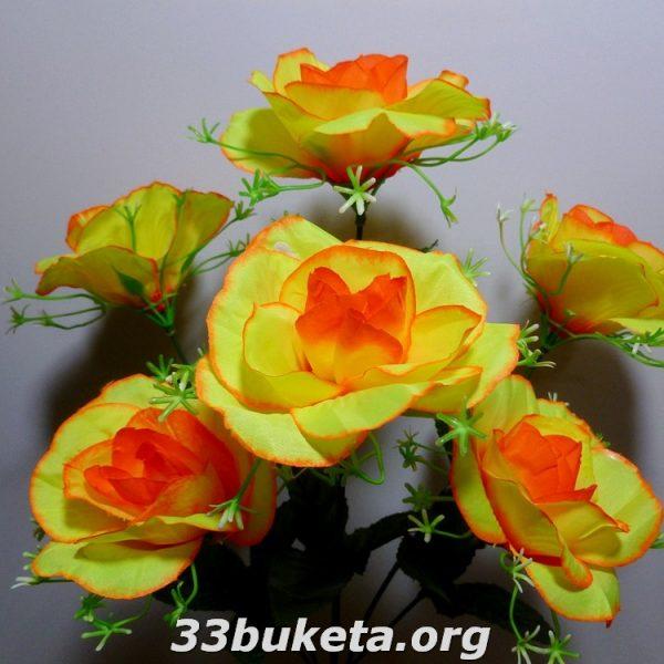 Роза букет 6 цветков средний букет
