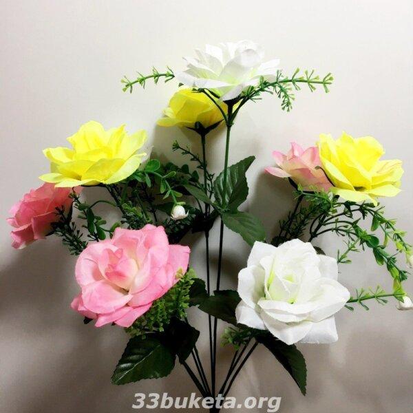 Роза 9 цветков средний букет