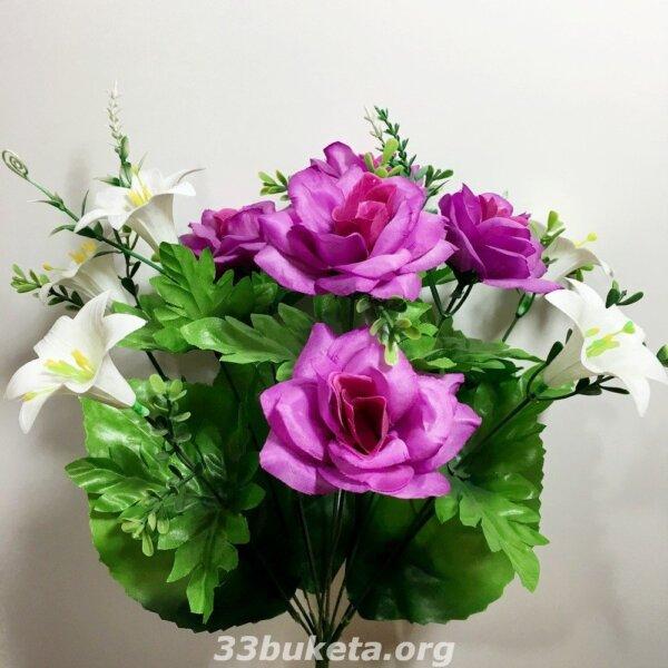 Роза+ лилия пластик 9 цветков