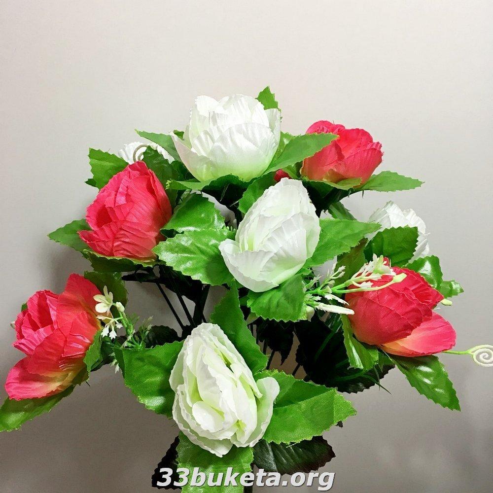 Роза бутон 2-х цветная