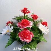 Роза пластик+ ромашка
